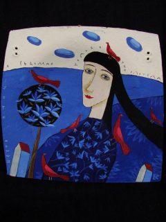 роспись по керамической тарелке