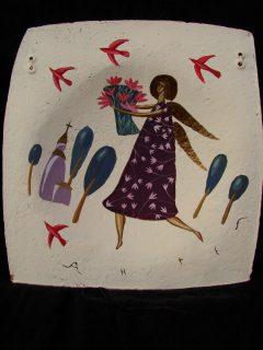 роспись ручной работы по тарелке