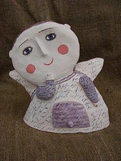 Ангел из керамики с росписью
