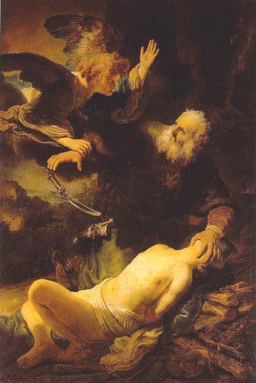 Ангел удерживающий отца от принесения сына в жертву, Рембрандт